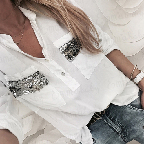 2019 New Women White Blouse Lo…
