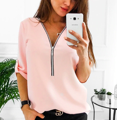 2019 Zipper Short Sleeve Women…